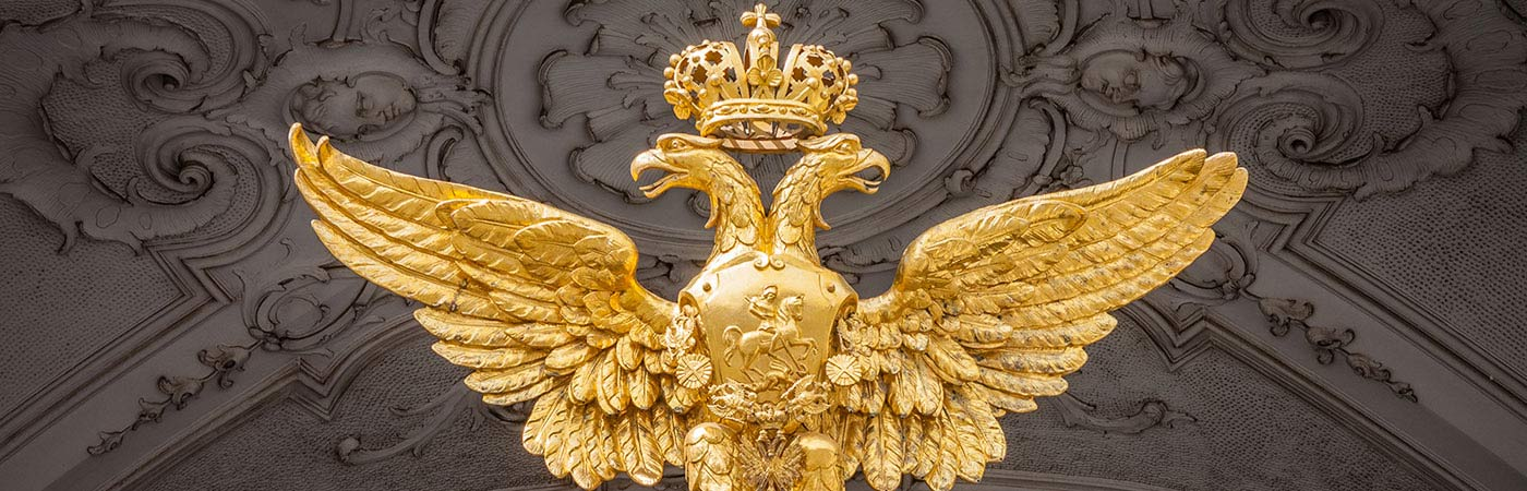 Statue of Russian two-headed eagle