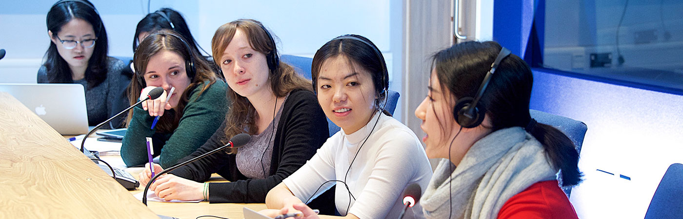 Students participating in conference interpreting