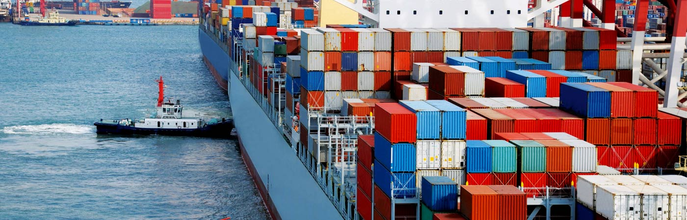 Shipping containers at a dock