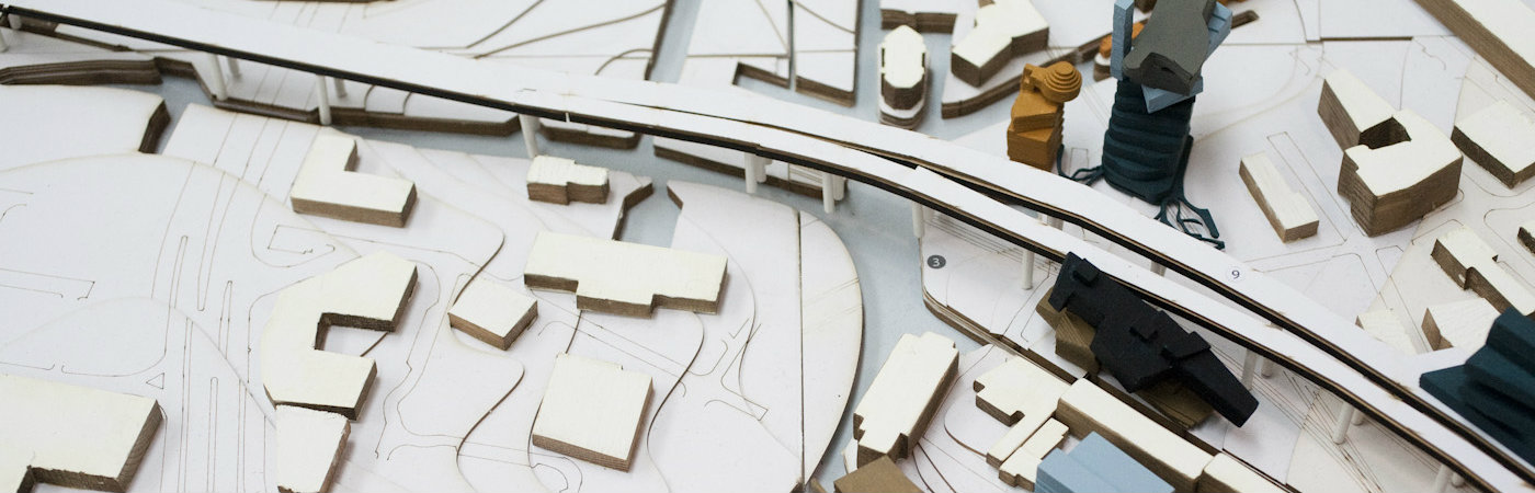 Architect's model of houses and roads