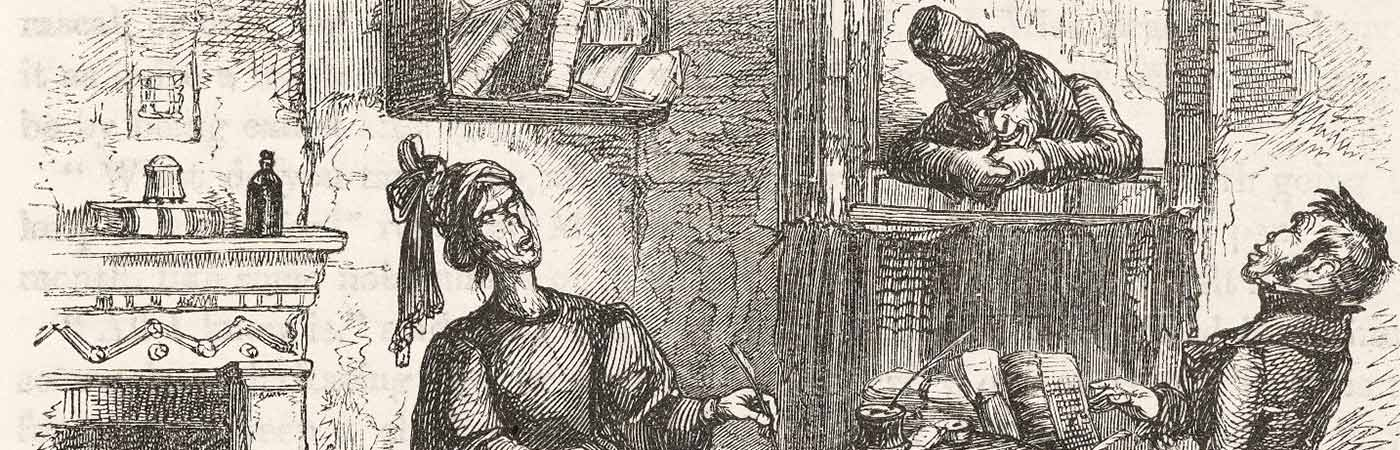 Black and whIte sketch of Charles Dickens' A Christmas Carol