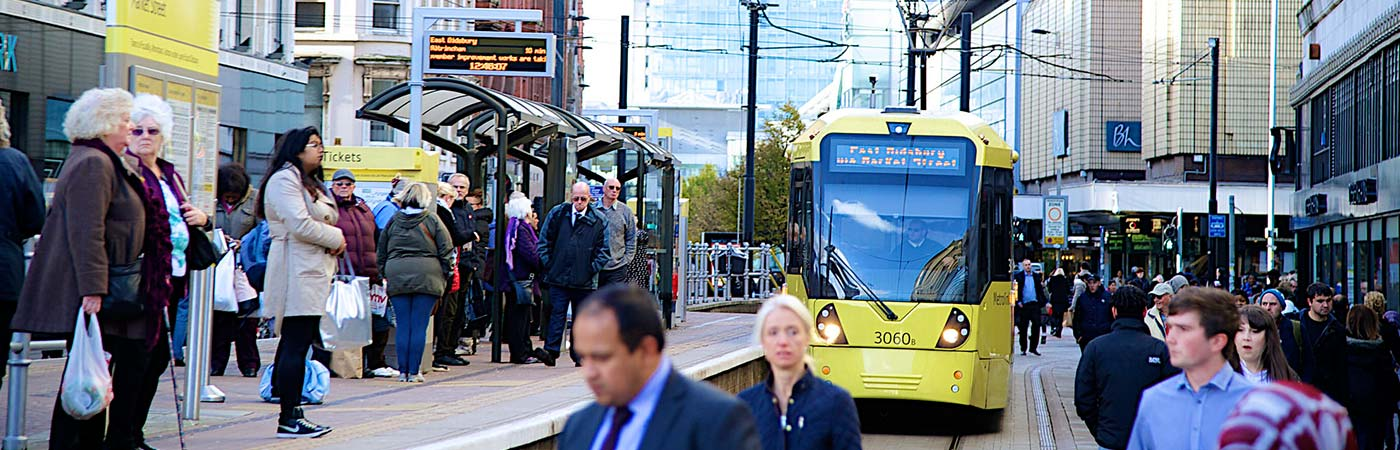Tram platform in Manchester city centre