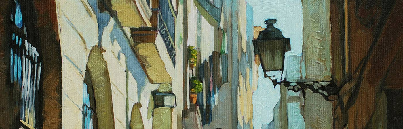 Oil painting of a Spanish street