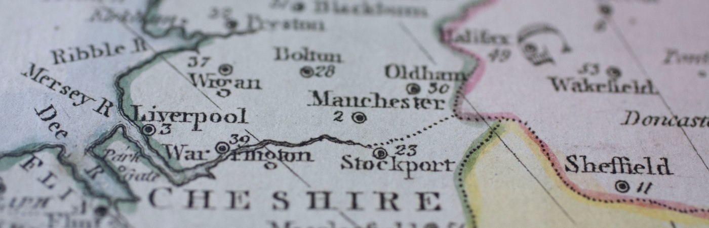 Old map of the North-West of England