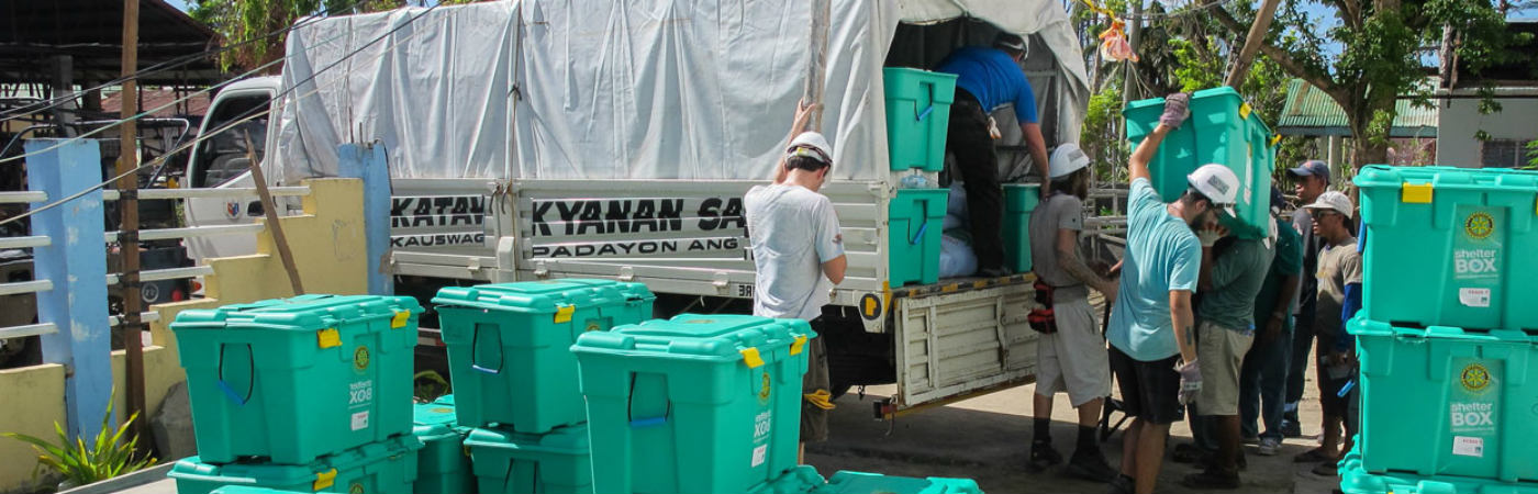 Humanitarian aid unloaded from truck
