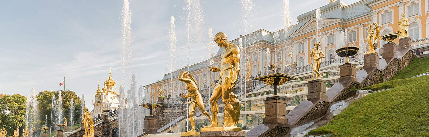 Statues and fountains outside a Russian palace