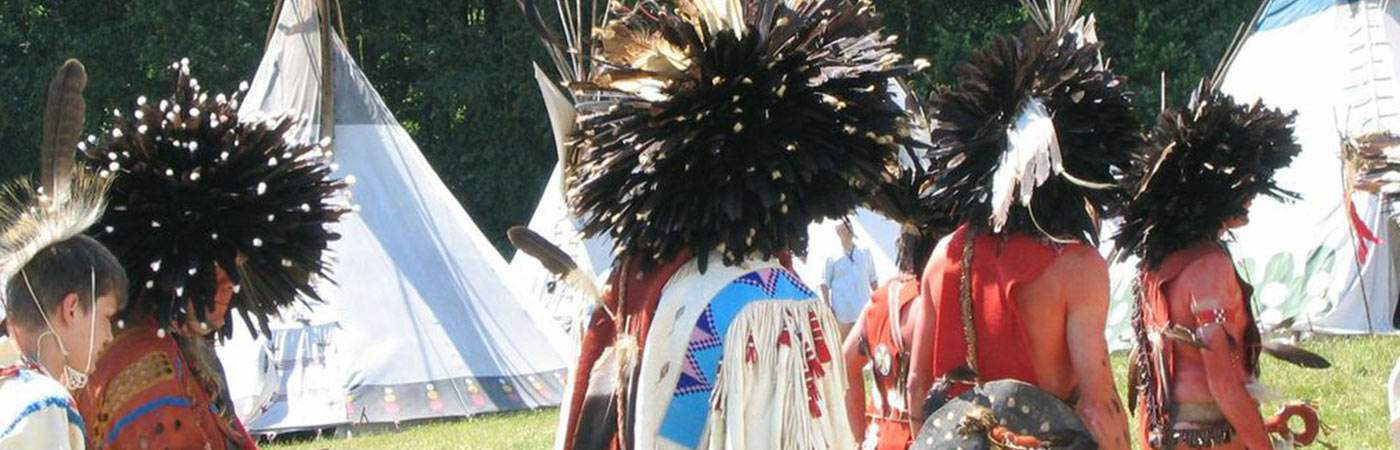 Men in traditional native American Indian dress