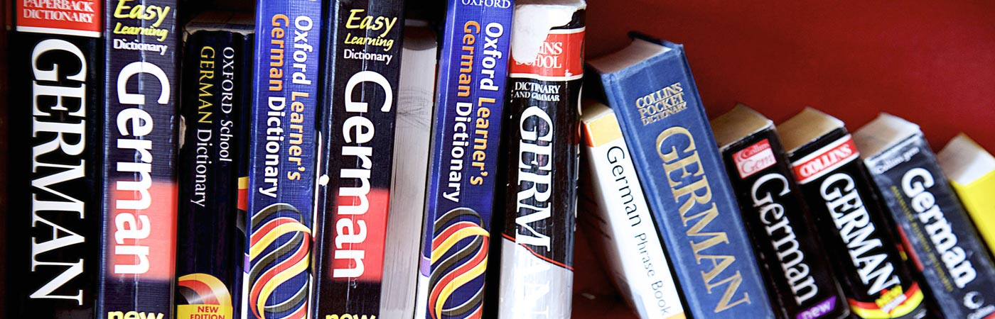 German language dictionaries on a bookshelf